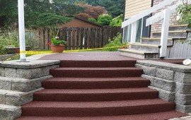 resurfacing stairs with rubber pavement in Burnaby