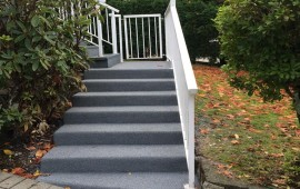 resurfacing cement staircase by rubber pavers